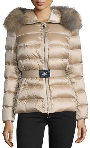 711086e6f862 ... Neiman Marcus › Moncler › Tan Puffer Coats Moncler Tatie Hooded Fur  Trim Puffer Jacket ...