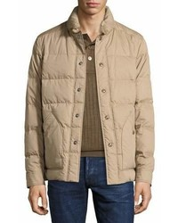 Tom Ford Snap Front Quilted Puffer Jacket Tan
