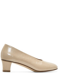 Martiniano Beige Patent High Glove Heels