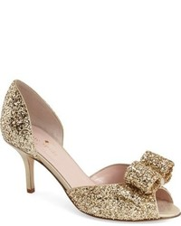 Kate Spade New York Sela Glitter Bow Peep Toe Pump