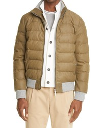 Eleventy Leather Bomber Jacket