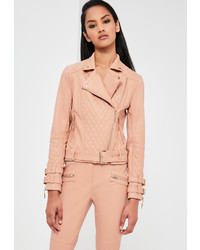 Missguided nude faux leather quilted biker jacket medium 967891