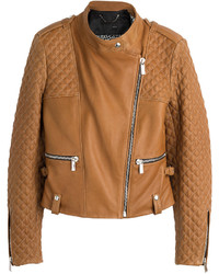 Quilted detailed leather biker jacket medium 320690