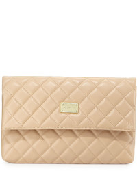 St. John Collection Quilted Leather Fold Over Clutch Bag Beige