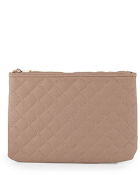 Neiman Marcus Eva Quilted Zip Clutch Bag Blush