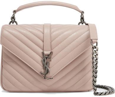 f31e49aa0353 ... Saint Laurent College Medium Quilted Leather Shoulder Bag Blush ...