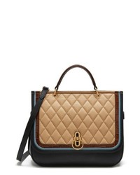 Tan Quilted Leather Satchel Bag