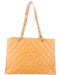 Tan Quilted Leather Tote Bag