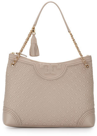 Tory Burch Fleming Quilted Leather Tote Bag Bedrock