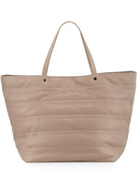 Neiman Marcus Quilted Faux Leather Tote Bag Taupe
