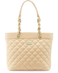 St. John Quilted Leather Tote Bag Classic Beigegold