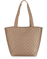 Neiman Marcus Sutton Quilted Nylon Tote Bag Smokey Taupe