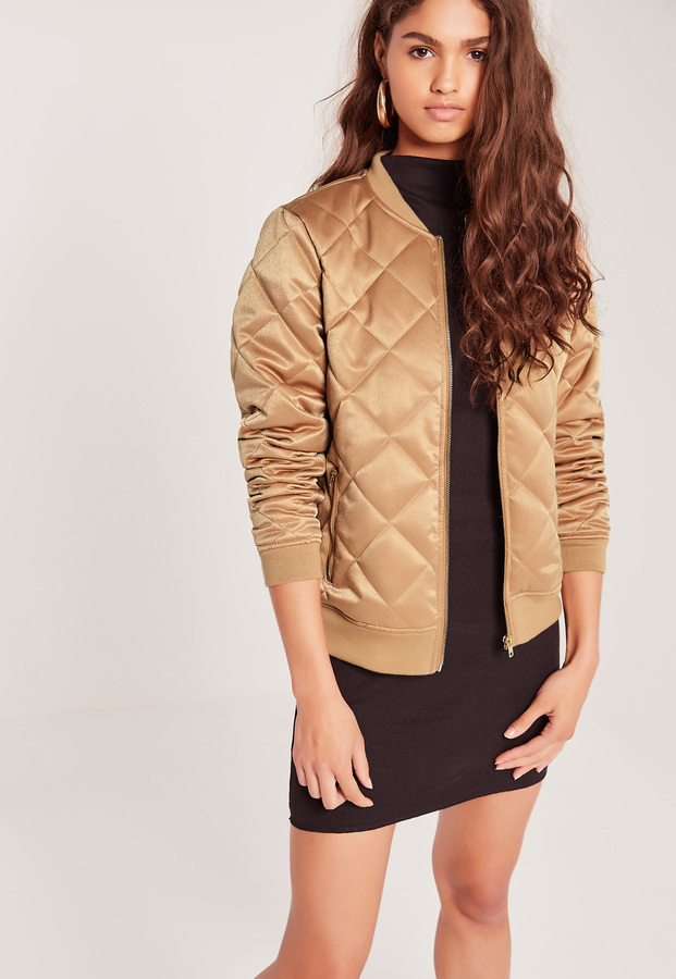 Missguided Quilted Satin Bomber Jacket Gold Where To Buy How To Wear