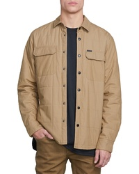 Tan Quilted Shirt Jacket