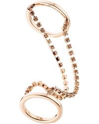 Maison Margiela Double Ring With Crystal Embellisht