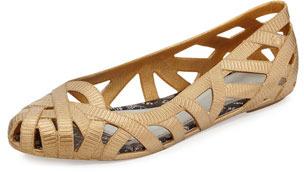 f7db3fa96ce3 ... Jason Wu Melissa Shoes Jean Iii Cutout Jelly Flat Gold ...