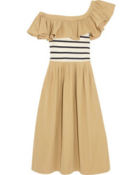 Sea One Shoulder Ruffled Cotton Gabardine And Jersey Midi Dress Sand