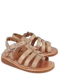 Pom D'Api Tan Gold Yapo Strap Sandals