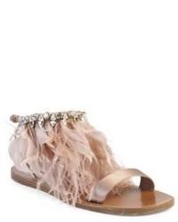 Miu Miu Jeweled Feather Satin Sandals