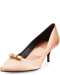 Tan Satin Pumps