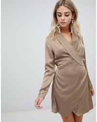 Missguided Satin Wrap Dress In Khaki