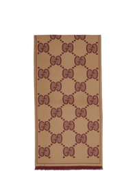 Gucci Brown And Burgundy Wool Gg Scarf