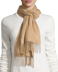 Burberry Cashmere Embroidered Logo Scarf Camel