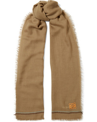 Loewe Embroidered Cashmere And Cotton Blend Scarf