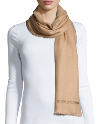 Burberry Embroidered Lightweight Cashmere Scarf Camel
