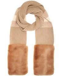 Stella McCartney Faux Fur Trimmed Virgin Wool Scarf