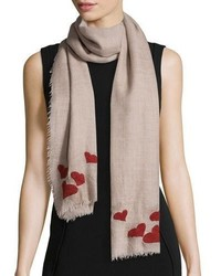 Faliero Sarti For Love Scarf With Hearts Taupe