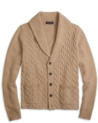 Brooks Brothers Saxxon Wool Shawl Collar Cable Cardigan
