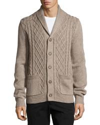 Neiman Marcus Cable Knit Shawl Collar Cardigan Desert Sand