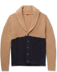 Barena Shawl Collar Two Tone Waffle And Cable Knit Cardigan