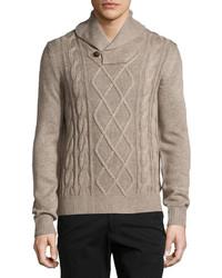 Neiman Marcus Fisherman Shawl Collar Sweater Desert Sand