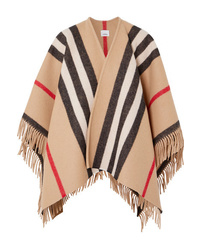 Burberry Fringed Checked Wool Wrap