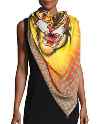 Gucci Gg Sun Angry Cat Shawl Beige