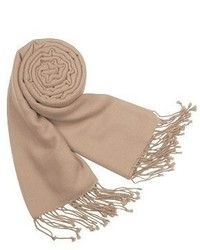 Solid pure pashmina fringed shawl medium 385614