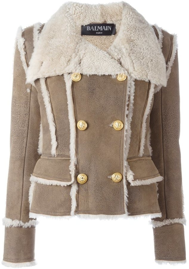 Balmain Double Breasted Shearling Coat