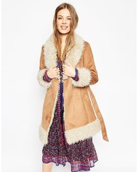 Asos Collection Coat In 70s Style Faux Shearling