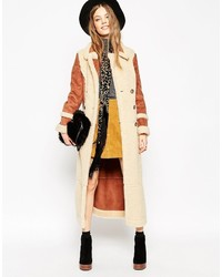 Asos Collection Faux Shearling Coat In Maxi Length