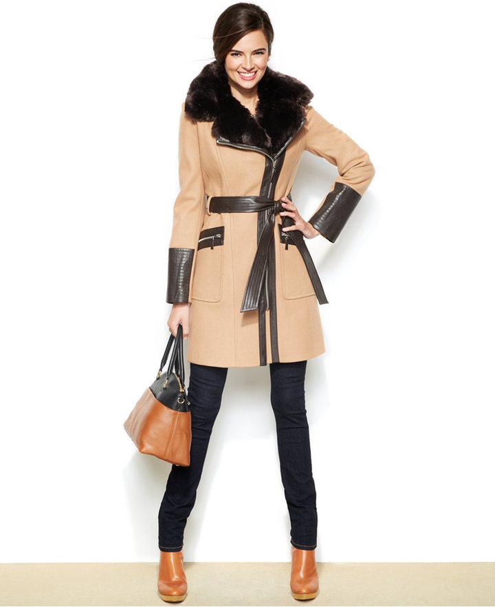 2c1b84b69 $400, Via Spiga Faux Leather Faux Fur Kate Trench Coat