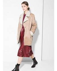 Mango Faux Shearling Lined Coat