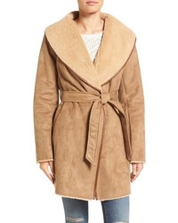Faux shearling wrap coat medium 1316609