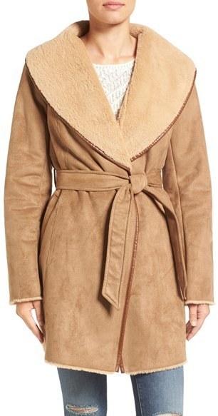 Ellen Tracy Faux Shearling Wrap Coat