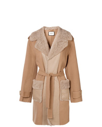 Max & Moi Panel Shearling Coat