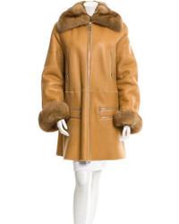 Fendi Sable Trimmed Shearling Coat