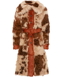 Prada Studded Shearling Coat Brown