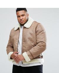 ASOS DESIGN Asos Plus Faux Shearling Jacket In Camel