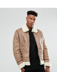 ASOS DESIGN Asos Tall Faux Shearling Jacket In Camel